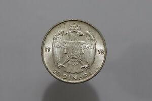 YUGOSLAVIA 20 DINARA 1938 SILVER HIGH GRADE B25 #Z5491