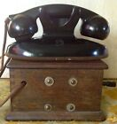 Vintage 1930's Kellogg Art Deco Bakelite Ashtray Phone with Oak Ringer Untested