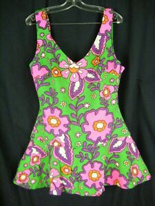 Vintage 60s Handmade Green Mod Floral Retro Swimsuit-Bust 34/2XS-XS