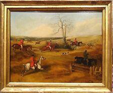 FINE GRAND début 19th siècle Anglais Chasse au Renard Paysage antique Peinture à l'huile