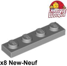 Lego - 8x Plaque Plate 1x4 4x1 gris/light bluish gray 3710 NEUF