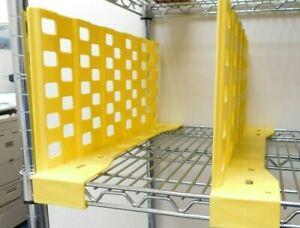 "LOT OF 12 - Metro Wire Shelving 18"" Plastic Shelf Divider (YELLOW) Adjustable"