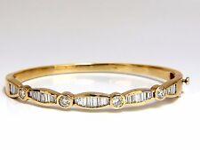 3.50ct natural baguettes and round diamonds navette bangle bracelet 14kt