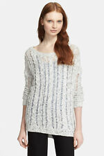 VINCE SZ L CABLE LACE KNIT SWEATER WHITE GREY BLEND SILVER MARL