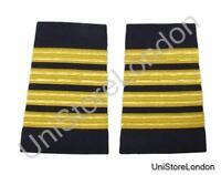 Epaulet Pilot Epaulette Sliders 4 Gold Bars Captain on Navy Blue Cloth R1305