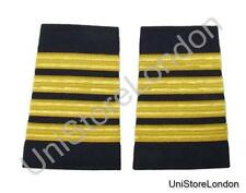Epaulet Pilot Epaulette Sliders 4 Gold Bars Captain on Navy Blue Cloth R1305