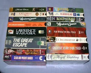 16 VHS Movie lot Moby Dick, Golden Pond, Great Escape, 2 African Queen, Arabia +