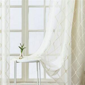 Geometric Sheer Curtain Modern Short Window Curtain Drape for Voile Cafe Curtain