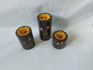 Set Of 3 Etched Wood Candle Holders With Flower Candles Wooden Modern