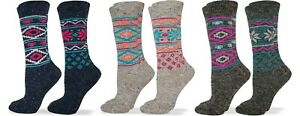 Wise Blend Womens Wool Colorful Pattern Fashion Crew Boot Warm Winter Socks 2 PK