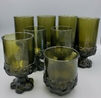 8 Vintage Tiffin Franciscan Madeira Olive Green Footed Juice Glasses Goblets lot