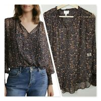 [ WITCHERY ] Womens Print Yoryu Tie Blouse Top RRP$129.95 | Size AU 6 or US 2