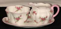 Shelley China BRIDAL ROSE DAINTY SHAPE PINK CREAMER & SUGAR & TRAY  #13545