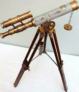 """Antique Brass Double Barrel 10"""" Telescope With Tripod Stand Maritime Solid Gift"""