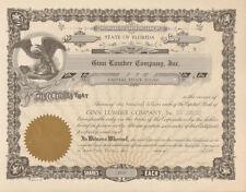 Ginn Lumber Company, Inc. Florida old stock certificate share