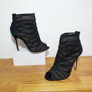 RRP £155 KAREN MILLEN Black Mesh Lace Cage Shoes Boots Size 5 High Heels Suede