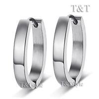 T&T Plain Stainless Steel U Sharp Hoop Earrings Large (EH31S)