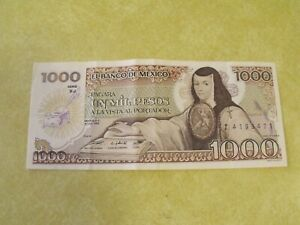 MEXICO 1000 Pesos (1985) Series XJ Banknote Paper Currency Dated 19 Jul 1985