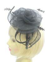all black sinamay hatinator headband fascinator, weddings, races, prom