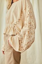 Free People Throwback Embroidered Sleeves Top Sand XS - S NEW