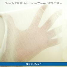 Muslin Cotton Fabric,Cheese Cloth Gauze Material,White & Ecru,130cms,Neotrims UK