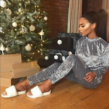 UK 2pc Womens Crushed Velvet Velour Lounge Wear Sweatshirt Joggers Tracksuit Top 6 Gray