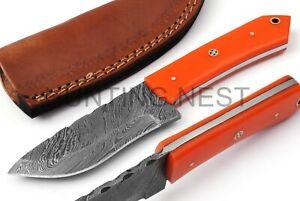 Hunting Nest Handmade Damascus steel hunting skinner knife ACRYLIC handle 79J