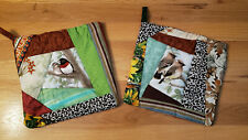 New!! Handmade Quilted Cotton Pot Holders/Hot Pads Set of 2 - Birds