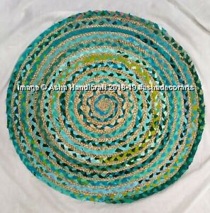 Green Round Braided Natural Cotton & Jute Mat Rugs 60 cm Shabby Chic Indian Rug