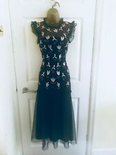 Monsoon Black Floral Sequin Fit & Flare Hand Beaded Occasion Midi Dress £149 12