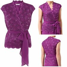 Ex Jacques Vert Purple Lace Top Belt Blouse Sequin Cross Over Wrap Evening UK 12