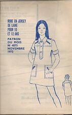 ▬► PATRON Couture Modes et Travaux - Robe 10 à 12 ans Novembre 1973