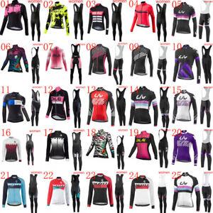 2021 womens cycling Jersey set long sleeve bike shirt bib Pants Kit cycling wear