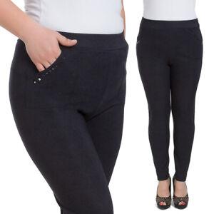 Donna Classico Pantaloni con Tasche Taglie Forti Elegante Nero Profondo W18-019