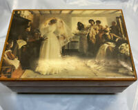 Vintage Reuge Wood Music Trinket Box Bride Wedding Gown Bridesmaids Theme