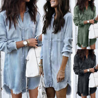 Womens Summer Denim Jeans Blouse Top Ladies Long Sleeve Casual T shirt Tee Dress