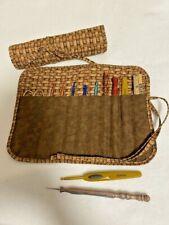 Wicker Basket handmade quilted crochet hook holder cotton fabric