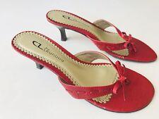 CL LAUNDRY Red Heels Shoes Women's Size 7M Open Toe Bows T-Strap Slides Sandals