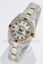 Rolex Ladies Datejust Gold & Steel MOP Ruby Diamond Dial & Bezel Oyster 2Tone 2Y