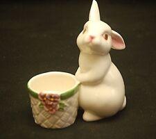 AVON 1980 White Pink Bunny Rabbit w Basket Ceramic Figurine Tea Candle Holder