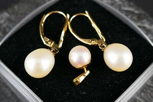 Vintage -Schmuckset- 2 Ohrhänger und 1 Anhänger mit Perlen - 14K/585er Gold