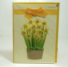 PAPYRUS Easter Card with Daffodils,  Lined Envelope, Gold Seal NIP