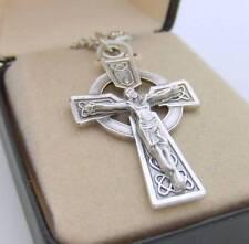 "MRT Celtic Cross Irish Crucifix Gift Oxidized Silver Plate w Chain Boxed 1.25"""