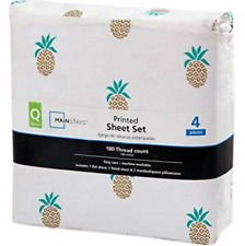 Mainstays 180 Thread Count Sheet Set, Pineapple Pattern - Queen