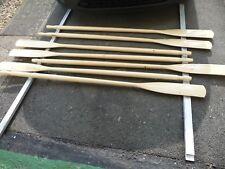 Oars 225cm.Pair New Lahna timber varnished,hard rubber collars.Scandinavian.
