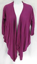 DKNY Size P/S Purple Silk Cashmere Open Front Cascade Draped Cardigan Sweater