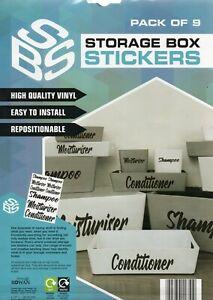 STORAGE BOX STICKERS - MOISTURISER/SHAMPOO/CONDITIONER - FREE UK POSTAGE