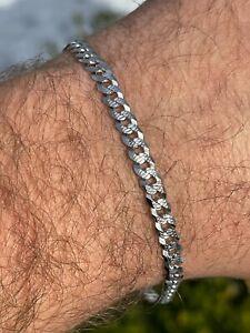 Real Solid 925 Sterling Silver Mens Miami Cuban Link Bracelet 5mm Diamond Cut
