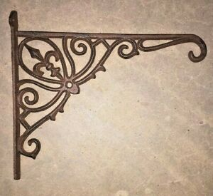 Fleur De Lis Plant Hanger, brown bronze finish, flower basket pot lantern hook