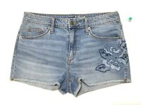 Womens Shorts Denim High Rise Shortie Universal Threads Size 8/29R Embroidered